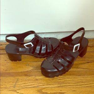 Gummy Black Chunky Goth Heels